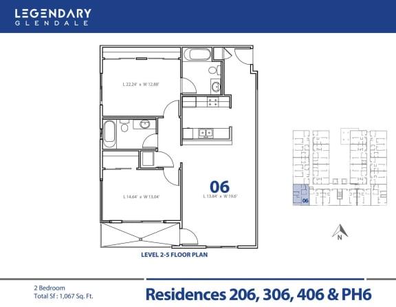 Floor Plan  Legendary Glendale Floor Plan 06, Luxury Apartments in Glendale, 91203