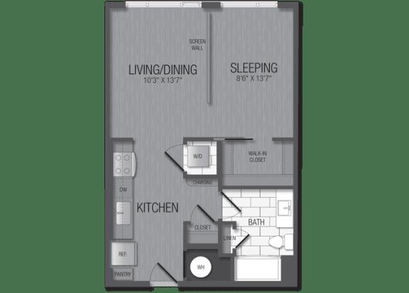 M.1A2B Floor Plan at TENmflats, Maryland