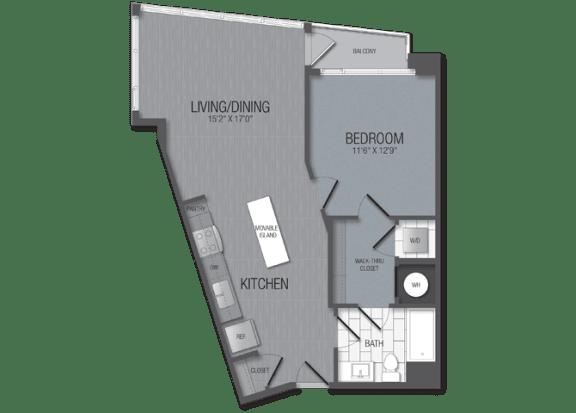 M.1B10 Floor Plan at TENmflats, Columbia, MD, 21044