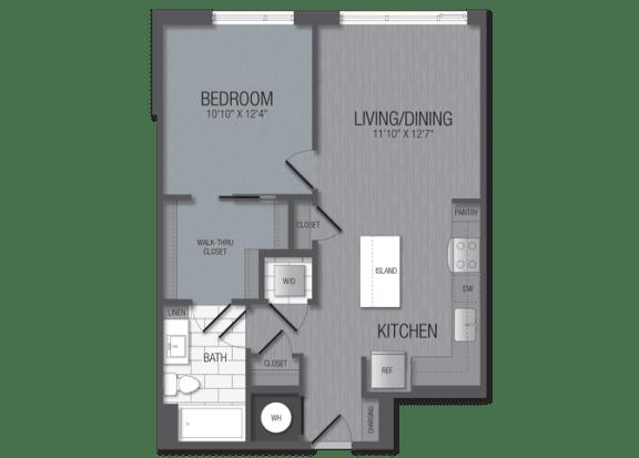 M.1B1A Floor Plan at TENmflats, Columbia, MD