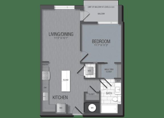 M.1B5 Floor Plan at TENmflats, Columbia, MD, 21044