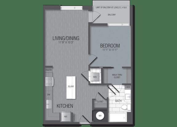 M.1B5B Floor Plan at TENmflats, Columbia, 21044