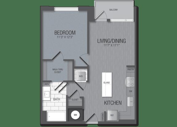 M.1B7 Floor Plan at TENmflats, Columbia, MD, 21044
