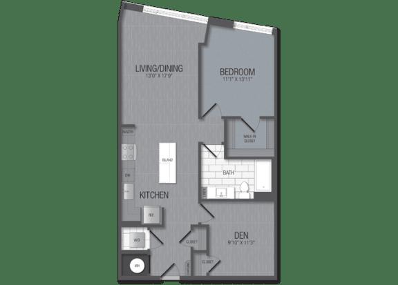 M.1D1/den Floor Plan at TENmflats, Maryland, 21044