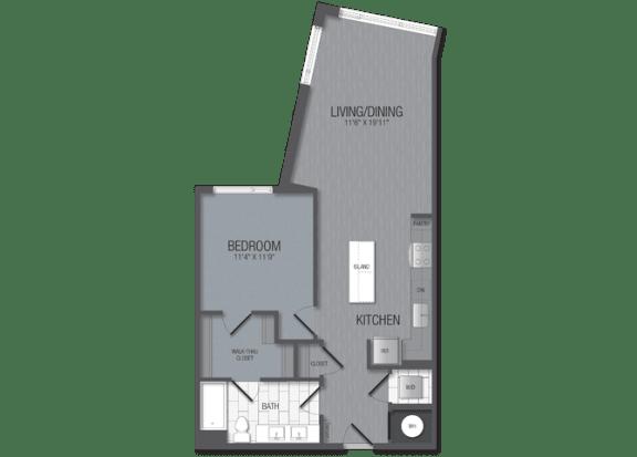 M.1D2 Floor Plan at TENmflats, Columbia, MD, 21044