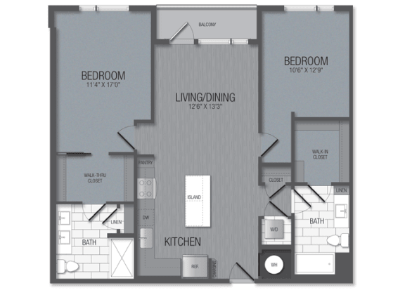 M.2A1 Floor Plan at TENmflats, Columbia, MD