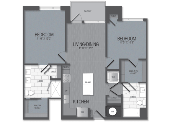 M.2A2 Floor Plan at TENmflats, Columbia, 21044