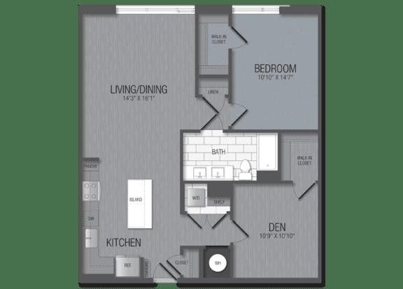 M.12b1/den Floor Plan at TENmflats, Maryland, 21044