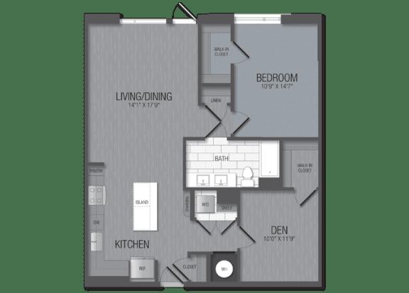 M.1B2M/den Floor Plan at TENmflats, Columbia, Maryland