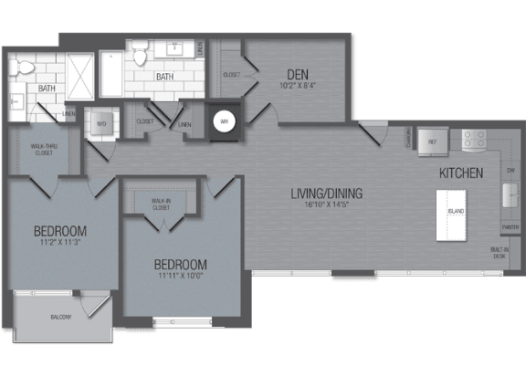 M.2D1/den Floor Plan at TENmflats, Columbia, MD