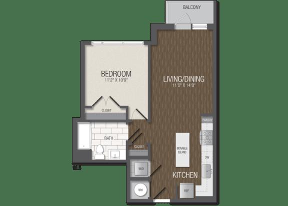 T.1B5 Floor Plan at TENmflats, Columbia, 21044