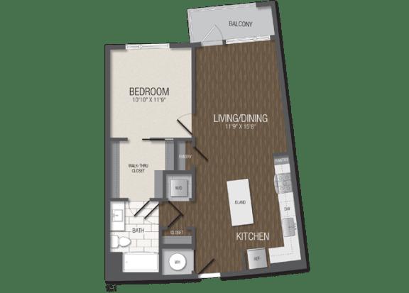 T.1C1 Floor Plan at TENmflats, Columbia