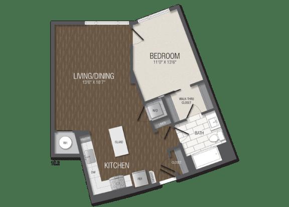 T.1C2 Floor Plan at TENmflats, Maryland