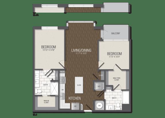 T.2A4 Floor Plan at TENmflats, Columbia, MD