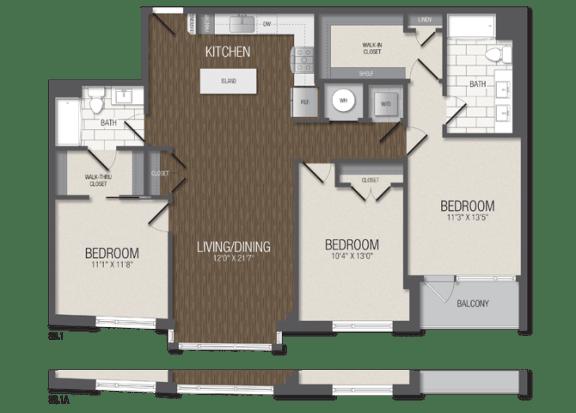 T.3B1 Floor Plan at TENmflats, Columbia, 21044