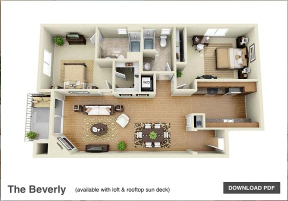 Floor Plan  The Beverly 2 Bedroom 2 Bath 3D Floor Plan at The Verandas, Canoga Park, California