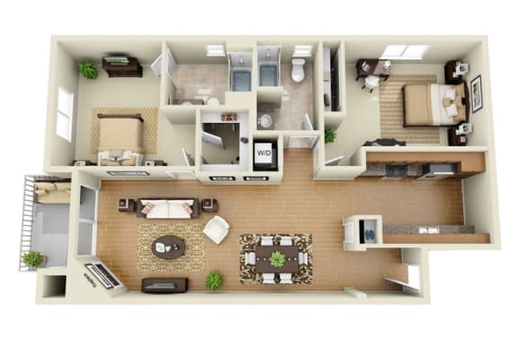 Floor Plan  The Beverly Plus Loft 2 Bedroom 2 Bath 3D Floor Plan at The Verandas, Canoga Park, CA, 91304
