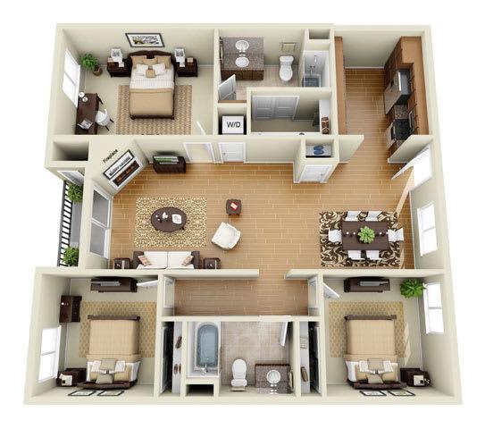 Floor Plan  The Sunset Plus Loft 3 Bedroom 2 Bath 3D Floor Plan at The Verandas, Canoga Park, California