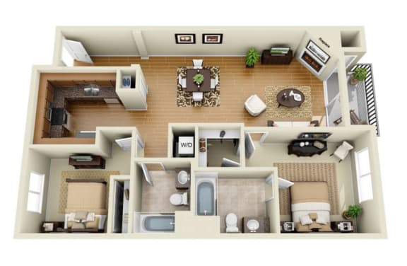 Floor Plan  The Wilshire Plus Loft 2 Bedroom 2 Bath 3D Floor Plan at The Verandas, California