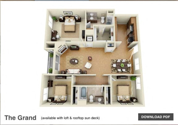 The Grand 3 Bedroom 2 Bath 3D Floor Plan at The Verandas, California
