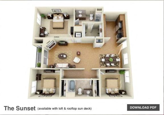 Floor Plan  The Sunset 3 Bedroom 2 Bath 3D Floor Plan at The Verandas, Canoga Park