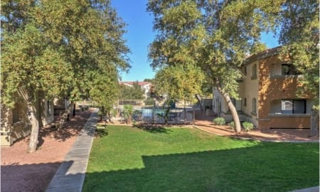 Beautifully Landscaped Grounds at The Colony Apartments, 351 N Peart Rd