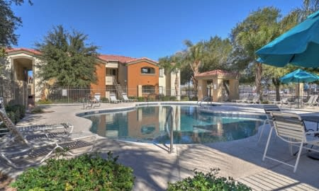 Pool & Outdoor Entertainment Areaat The Colony Apartments, 351 N Peart Rd