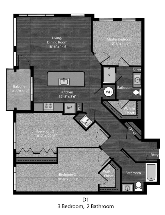 Austen-3Bed FP Layout at The Edition Apartments, Hyattsville