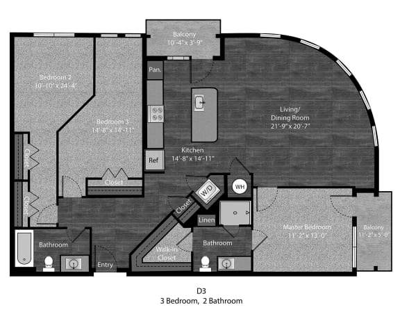 Bell-3Bed Floor Plan Layout at The Edition Apartments, Maryland, 20782