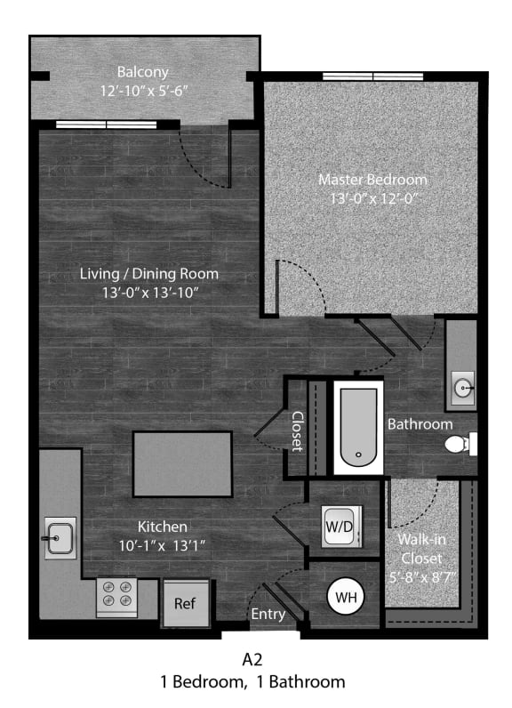 Bronte - A2 Floor Plan at The Edition Apartments, Hyattsville, 20782