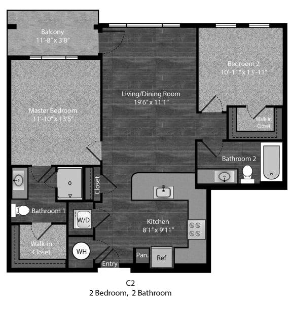Christie-2Bed Floor Plan Layout at The Edition Apartments, Hyattsville, MD, 20782