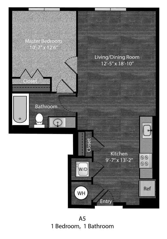 Dickens-1Bed Floor Plan Layout at The Edition Apartments, Maryland
