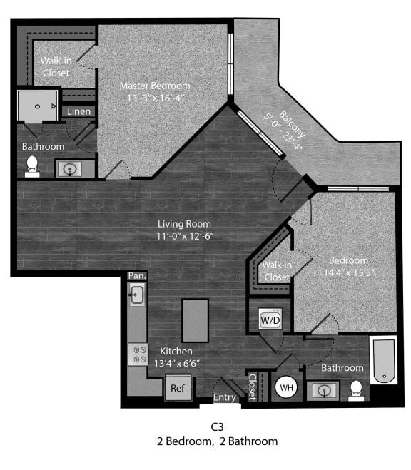 Fitzgerald-2Bed Floor Plan Layout at The Edition Apartments, Hyattsville, MD