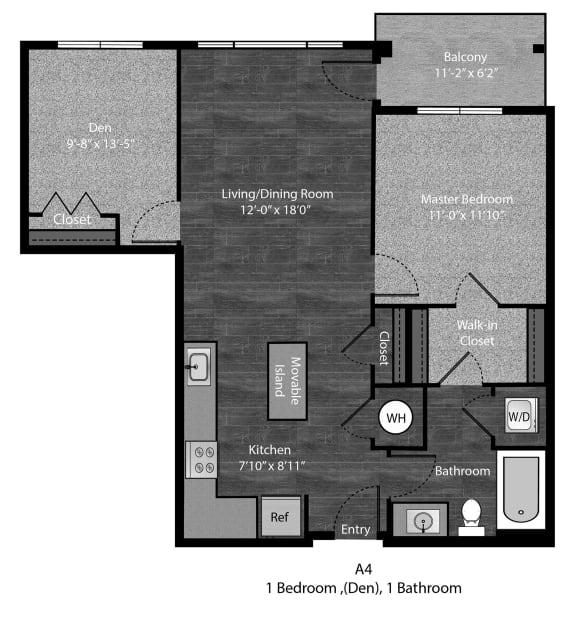 Grisham-1Bed Floor Plan Layout at The Edition Apartments, Hyattsville