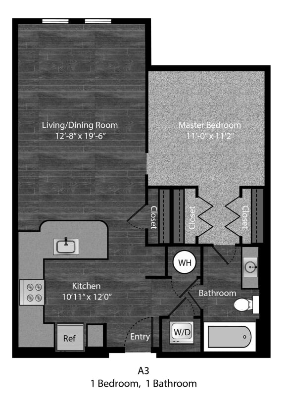 Hemingway - A3 Floor Plan at The Edition Apartments, Hyattsville, Maryland