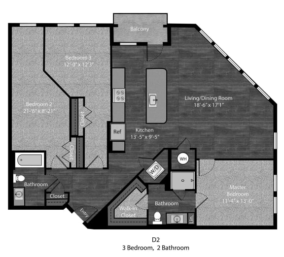 Melville-3Bed Floor Plan Layout at The Edition Apartments, Maryland