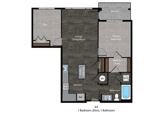 Grisham-1 Bed Floor Plan at The Edition, Maryland