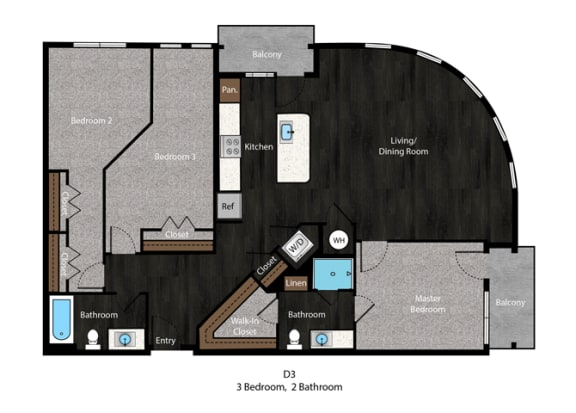 Bell-3Bed Floor Plan at The Edition Apartments, Hyattsville, 20782