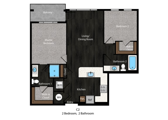 Christie-2Bed Floor Plan at The Edition Apartments, Hyattsville, Maryland