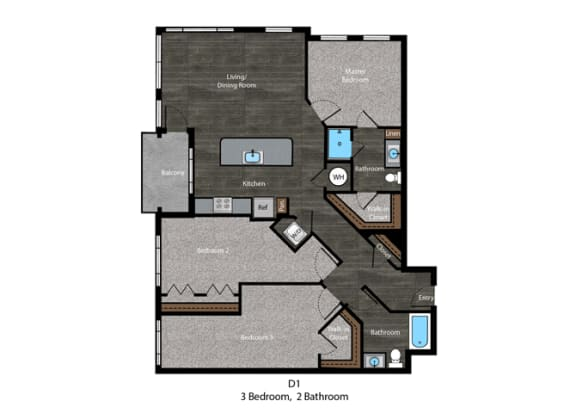 Austen-3 Bed Floor Plan at The Edition, Maryland