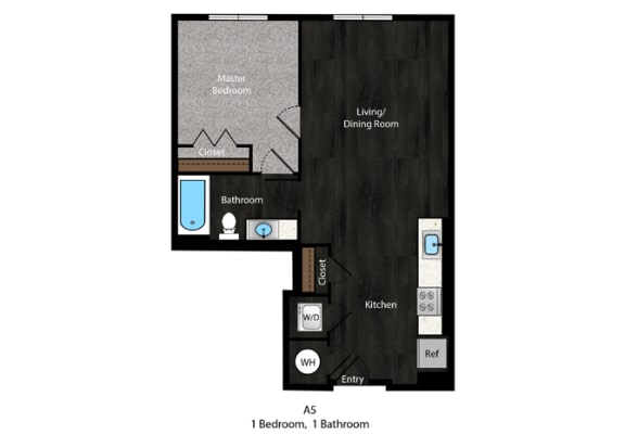 Dickens-1Bed Floor Plan at The Edition Apartments, Hyattsville, MD