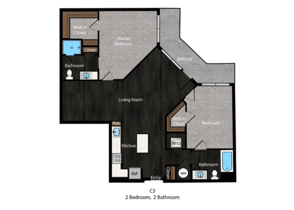 Fitzgerald-2Bed Floor Plan at The Edition Apartments, Hyattsville