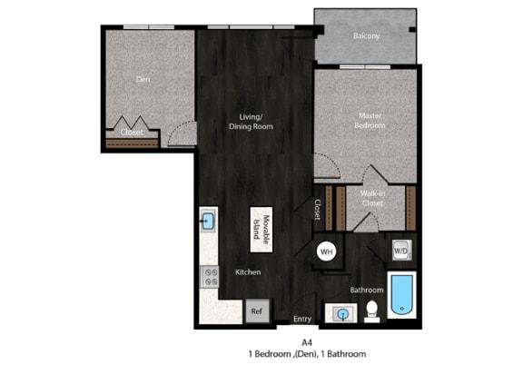 Grisham-1Bed Floor Plan at The Edition Apartments, Hyattsville, MD, 20782