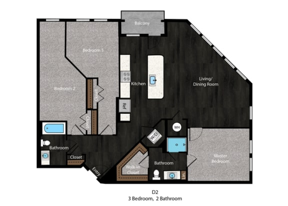 Melville-3Bed Floor Plan at The Edition Apartments, Hyattsville, MD