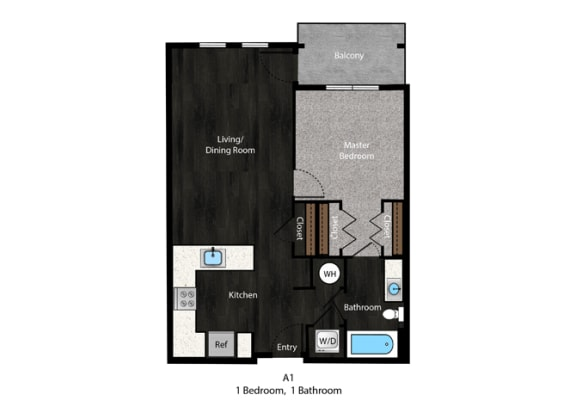Patterson-1Bed Floor Plan at The Edition Apartments, Hyattsville