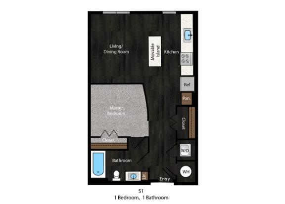 Ellison-Studio S1_B Floor Plan in Hyattsville, Maryland