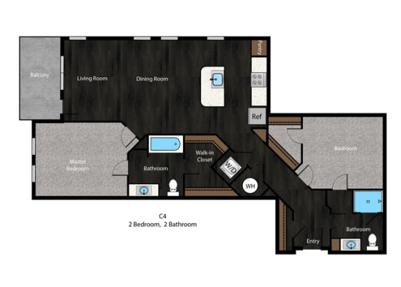 Tolstoy-2Bed Floor Plan at The Edition Apartments, Maryland