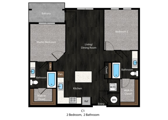 Twain-2Bed Floor Plan at The Edition Apartments, Hyattsville, 20782