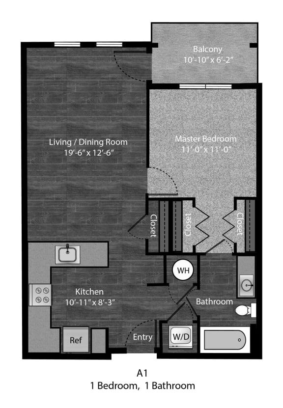 Patterson - A1 Floor Plan at The Edition Apartments, Hyattsville, MD