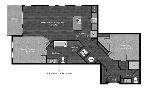 Tolstoy-2Bed Floor Plan Layout at The Edition Apartments, Hyattsville, 20782
